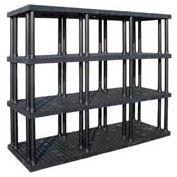 """Structural Plastic Vented Shelving, 96""""W x 36""""D x 75""""H, Black"""