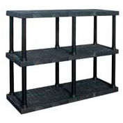 "Structural Plastic Adjustable Vented Shelving, 66""W x 16""D x 45""H, Black"