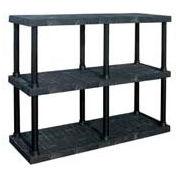 "Structural Plastic Adjustable Vented Shelving, 66""W x 24""D x 45""H, Black"