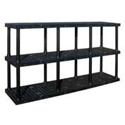 "Structural Plastic Adjustable Vented Shelving, 96""W x 24""D x 45""H, Black"