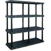 "Structural Plastic Adjustable Vented Shelving, 66""W x 16""D x 72""H, Black"