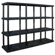 "Structural Plastic Adjustable Vented Shelving, 96""W x 16""D x 72""H, Black"