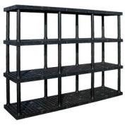 "Structural Plastic Adjustable Vented Shelving, 96""W x 24""D x 72""H, Black"