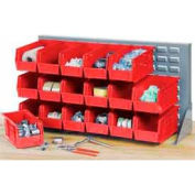 """Global Industrial™ Louvered Bench Rack 36""""W x 20""""H - 32 of Red Premium Stacking Bins"""