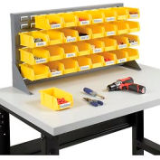 "Louvered Bench Rack 36""W x 20""H with 32 of Yellow Premium Stacking Bins"