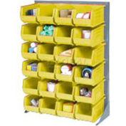 Global Industrial™ Singled Sided Louvered Bin Rack 35x15x50 - 12 Yellow Premium Stacking Bins