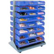 Mobile Double Sided Floor Rack With 96 Blue Stacking Bins 36 x 54