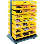 Global Industrial™ Mobile Double Sided Floor Rack - 96 Yellow Stacking Bins 36 x 54