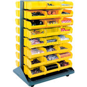Mobile Double Sided Floor Rack With 48 Yellow Stacking Bins 36 x 54