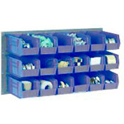 Wall Bin Rack Panel with 32 Blue Plastic Bins