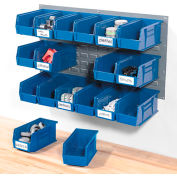 Wall Bin Rack Panel 36 x19 With 18 Blue 5-1/2x11x5 Stacking Bins