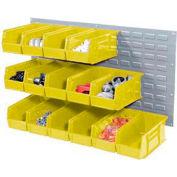 Wall Bin Rack Panel 36 x19 With 18 Yellow 5-1/2x11x5 Stacking Bins