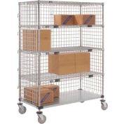Nexel® Enclosed Wire Exchange Truck 4 Wire 1 Galvanized Shelf 800 Lb Cap