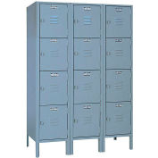 Lyon Locker DD53523 Four Tier 12x12x12 3-Wide Hasp Handle Ready To Assemble Gray
