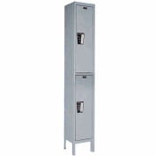 Hallowell UY1258-2A-HG Locker Double Tier 12x15x36 2 Door Assembled Gray