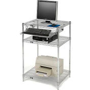 "Nexel™ Chrome Wire Shelf Computer Workstation with Keyboard Tray, 30""W x 24""D x 42""H"