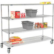 Nexel® E-Z Adjust Wire Shelf Truck 72x24x60 1200 Pound Capacity with Brakes