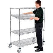 Nexel® E-Z Adjust Wire Shelf Truck 48x24x69 1200 Pound Capacity with Brakes