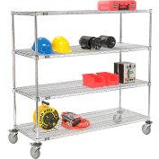 Nexel® E-Z Adjust Wire Shelf Truck 60x24x69 1200 Pound Capacity with Brakes