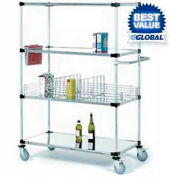 Nexel® Stainless Steel Shelf Truck 36x24x80 1200 Lb. Capacity with Brakes
