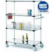 Nexel® Stainless Steel Shelf Truck 36x24x80 1200 Lb. Capacity with Brakes