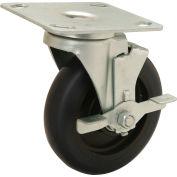 "Medium Duty Swivel Plate Caster with Brake - 5"" Polyurethane Wheel - 250 Lb. Capacity"