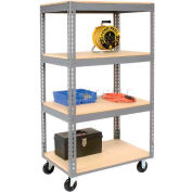 Easy Adjust Boltless 4 Shelf Truck 36 x 18 with Wood Shelves - Polyurethane Casters