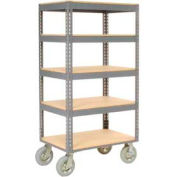 Easy Adjust Boltless 5 Shelf Truck 36 x 18 with Wood Shelves - Pneumatic Casters