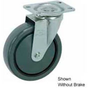 "Faultless Swivel Plate Caster 499-5RB 5"" Polyurethane Wheel with Brake"