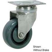 "Faultless Stainless Steel Swivel Plate Caster S896-4TB 4"" Polyurethane Wheel with Brake"