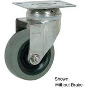 """Faultless Stainless Steel Swivel Plate Caster S890-4TB 4"""" TPR Wheel with Brake"""