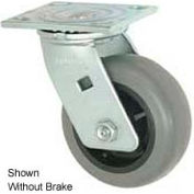 """Faultless Swivel Plate Caster 1491-5RB 5"""" TPR Wheel with Brake"""