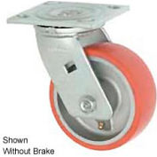 """Faultless Swivel Plate Caster 1438-5RB 5"""" Mold-On Poly Wheel with Brake"""