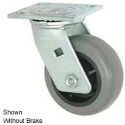 """Faultless Swivel Plate Caster 1491-6RB 6"""" TPR Wheel with Brake"""