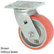 """Faultless Swivel Plate Caster 1438-6RB 6"""" Mold-On Poly Wheel with Brake"""