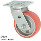 """Faultless Swivel Plate Caster 1438-8RB 8"""" Mold-On Poly Wheel with Brake"""