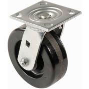 "Heavy Duty Swivel Plate Caster 5"" Plastic Wheel 500 Lb. Capacity"