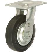 "Heavy Duty Swivel Plate Caster 5"" Mold-on Rubber Wheel 350 lb. Capacity"