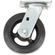"Heavy Duty Swivel Plate Caster 6"" Mold-on Rubber Wheel 500 lb. Capacity"