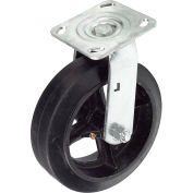 "Heavy Duty Swivel Plate Caster 8"" Mold-On Rubber Wheel 600 Lb. Capacity"