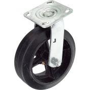 "Heavy Duty Swivel Plate Caster 8"" Mold-On Rubber Wheel 600 Lb. Capacity"