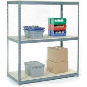 Global Industrial™ Wide Span Rack 60Wx36Dx84H, 3 Shelves Wood Deck 1200 Lb Cap. Per Level, Gray
