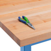 "72""W x 30""D x 1-3/4"" Thick Maple Butcher Block Square Edge Workbench Top"