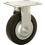 "Heavy Duty Rigid Plate Caster 5"" Mold-on Rubber Wheel 350 lb. Capacity"