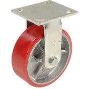 "Heavy Duty Rigid Plate Caster 6"" Polyurethane Wheel 800 lb. Capacity"