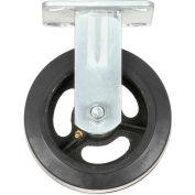 "Heavy Duty Rigid Plate Caster 6"" Mold-on Rubber Wheel 500 lb. Capacity"