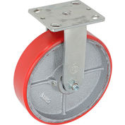 "Heavy Duty Rigid Plate Caster 8"" Polyurethane Wheel 800 Lb. Capacity"