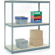 "Wide Span Rack 96""W x 24""D x 84""H With 3 Shelves Wood Deck 1100 Lb Capacity Per Level - Gray"