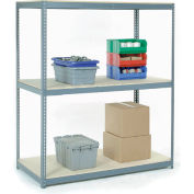Global Industrial™ Wide Span Rack 48Wx24Dx60H, 3 Shelves Wood Deck 1200 Lb Cap. Per Level, Gray