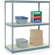 Global Industrial™ Wide Span Rack 48Wx48Dx60H, 3 Shelves Wood Deck 1200 Lb Cap. Per Level, Gray